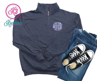 Youth Left Chest Lilly Applique Monogrammed Quarter Zip Sweatshirt
