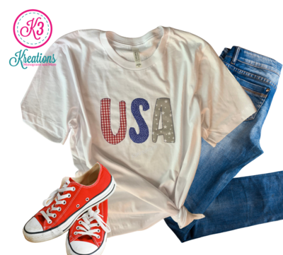 Adult Gingham, Dots & Stars USA White Short Sleeve Bella + Canvas Tee