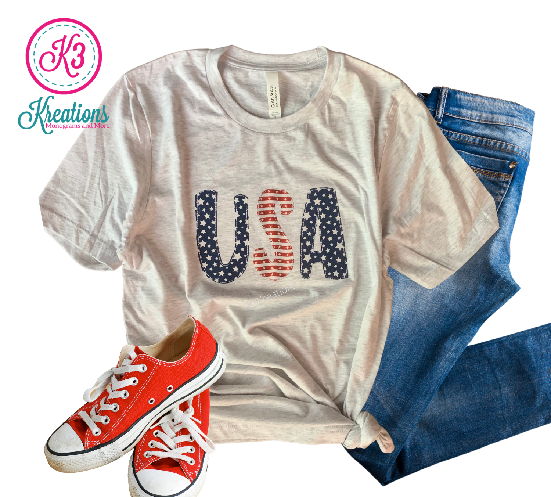 Adult Stars & Stripes USA Short Sleeve Bella + Canvas Tee
