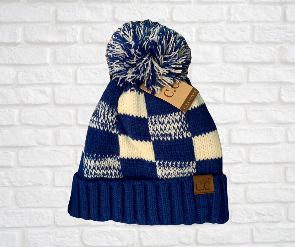 Fuzzy Lined Blue & White Buffalo Check CC Beanie Hat with Pom