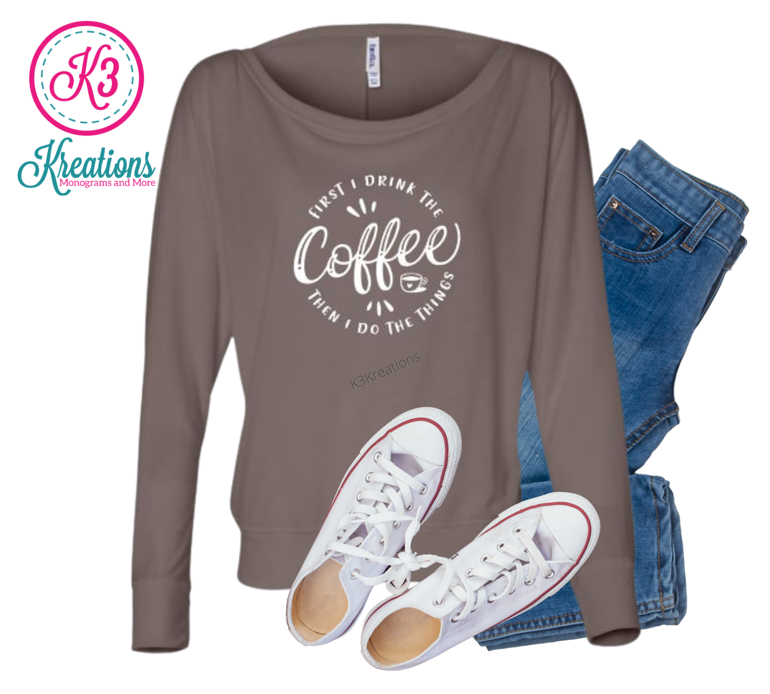Ladies First I Drink The Coffee Then I Do The Things Flowy Off Shoulder Long Sleeve Tee