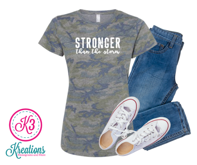 Adult Stronger Than the Storm Camouflage Jersey Short Sleeve Tee