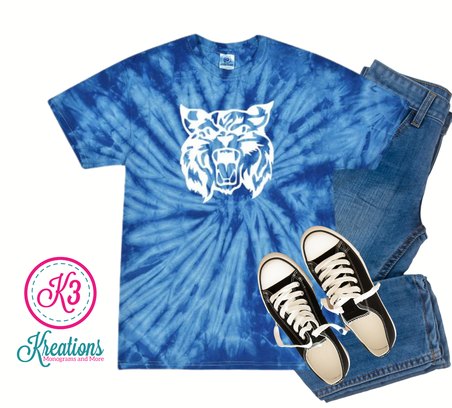 Adult Kentucky Wildcat Head Royal Tie Dye T-Shirt