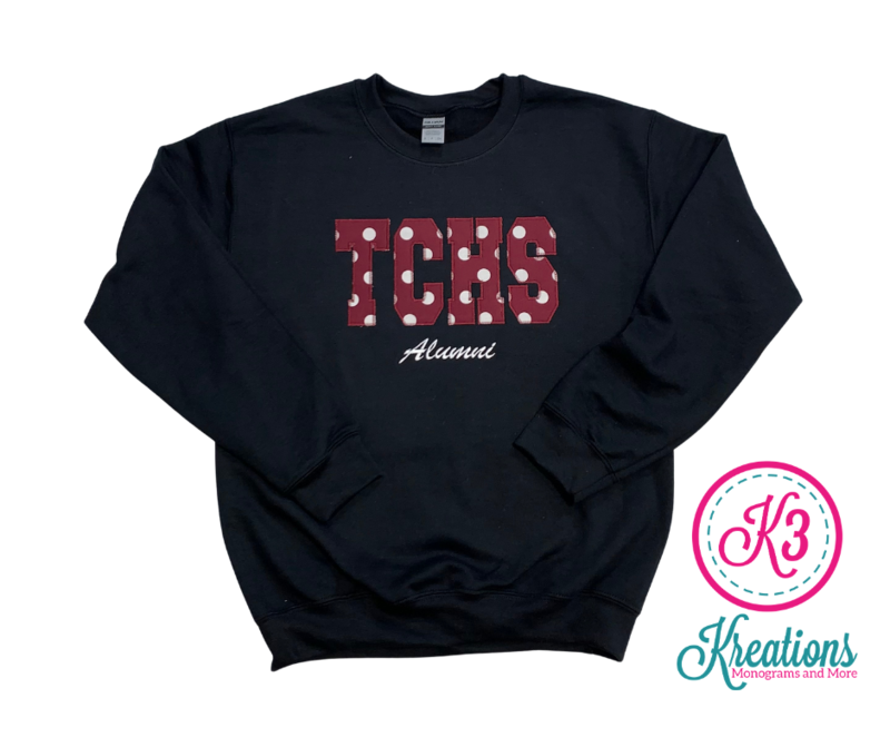 TCHS Alumni Applique Unisex Crewneck ADULT - Choice of Design Fabric (TCDT)