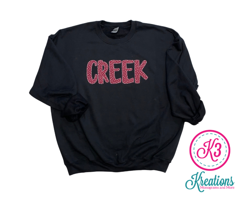 CREEK Fun Font Unisex Crewneck - YOUTH and ADULT - Choice of Design Fabric (TCDT)