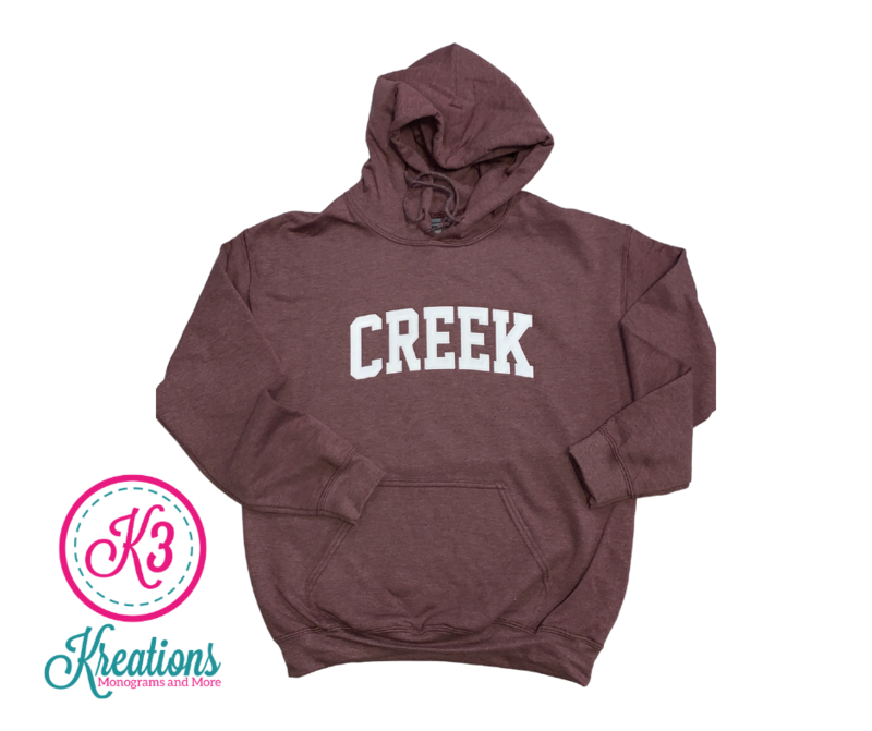 CREEK Unisex Hoodie - YOUTH and ADULT - Choice of Design Fabric (TCDT)