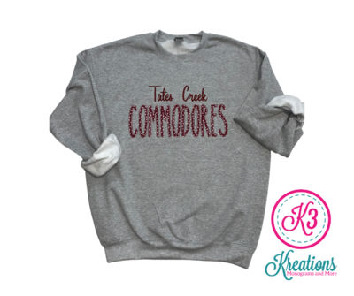 TC Commodores Unisex Crewneck - YOUTH and ADULT - Choice of Design Fabric (TCDT)