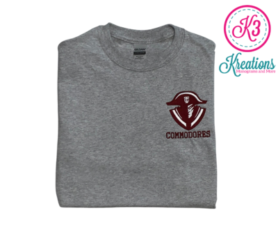Commodores Left Chest Unisex Short Sleeve  YOUTH and ADULT (TCDT)