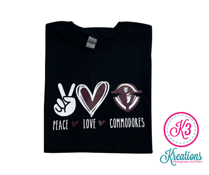Peace Love Commodores Unisex Short Sleeve  YOUTH and ADULT  (TCDT)