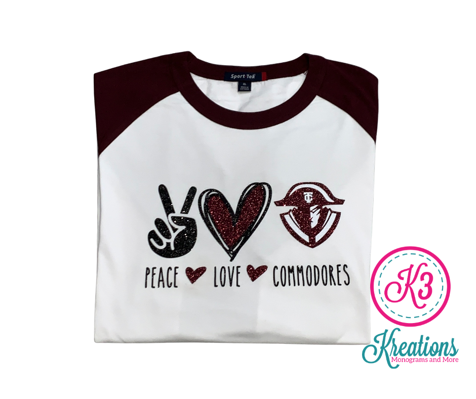 Peace Love Commodores Unisex Baseball  YOUTH and ADULT (TCDT)