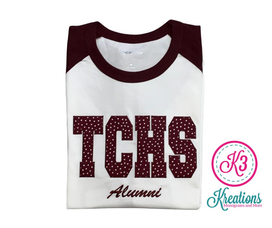 TCHS Alumni Applique Baseball Jersey ADULT - Choice of Design Fabric (TCDT)