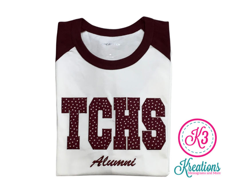 TCHS Alumni Applique Baseball Jersey ADULT - Choice of Design Fabric (TCDT)