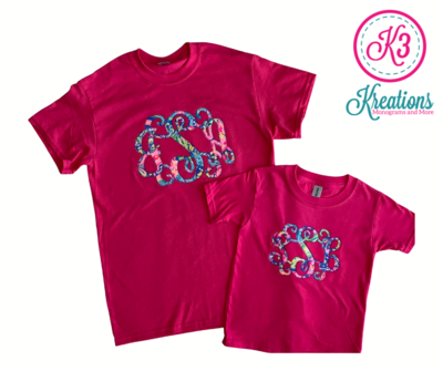 Mommy & Me Lilly Print Monogrammed Short Sleeve Tees