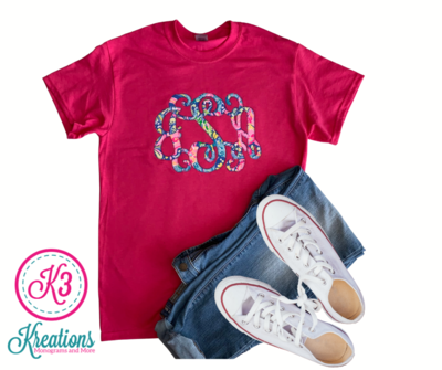 Ladies Lilly Print Monogrammed Short Sleeve Tee