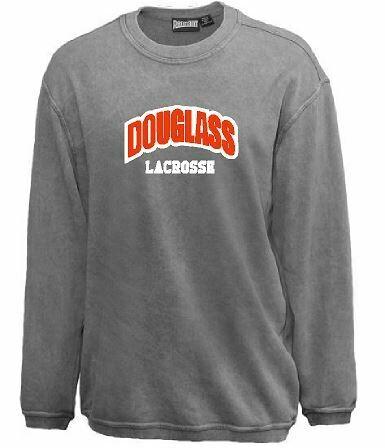 Douglass Lacrosse Sport Twill Applique Sandwash Crewneck (FDL)