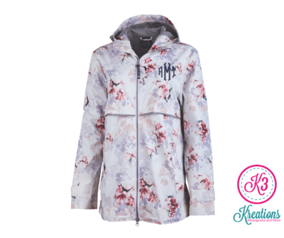 Ladies Charles River New Englander Floral Printed Rain Jacket