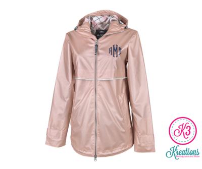 Ladies Rose Gold New Englander Rain Jacket with Printed Lining