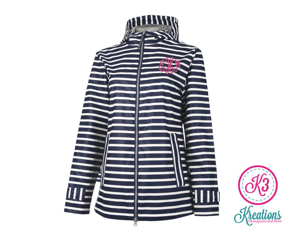 Ladies Charles River New Englander Navy White Stripe Rain Jacket