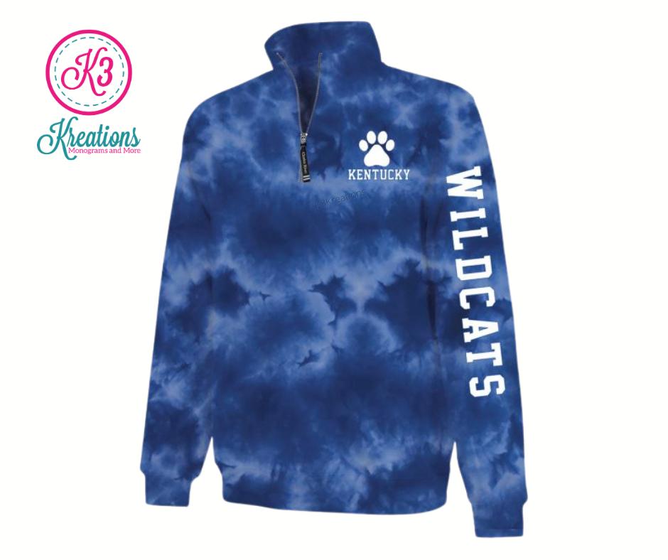 Adult Kentucky Wildcats Blue Tie-Dye Quarter Zip Sweatshirt