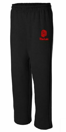 The Lex Open Bottom Black Sweatpants with  Embroidered Logo (LTC)