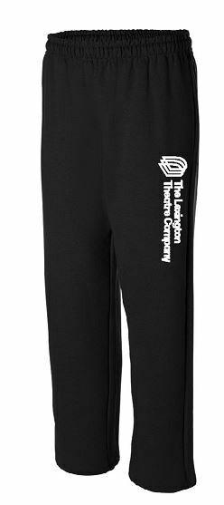 Open Bottom Black Sweatpants with Full Heat Press Logo on leg (LTC)