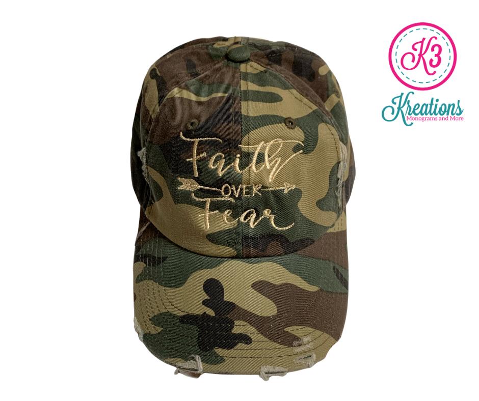 Faith Over Fear Distressed Camo Hat