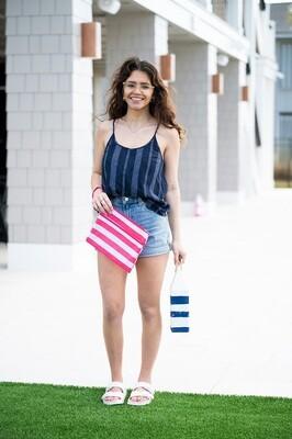 Hot Pink Stripe Zip Pouch