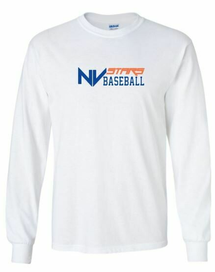 Adult NV Stars Baseball Front Chest Design Long Sleeve Tee (NVA)
