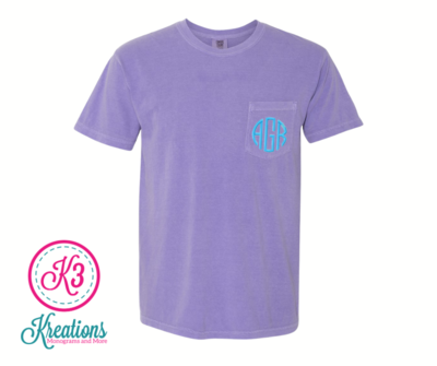 Adult Comfort Colors Monogrammed Pocket Short Sleeve Tee