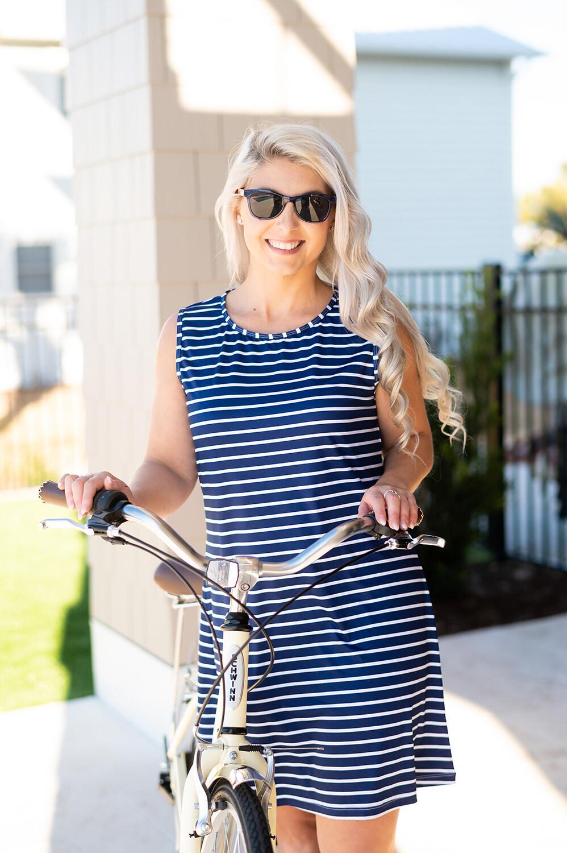 Navy Stripe Sleeveless Dress