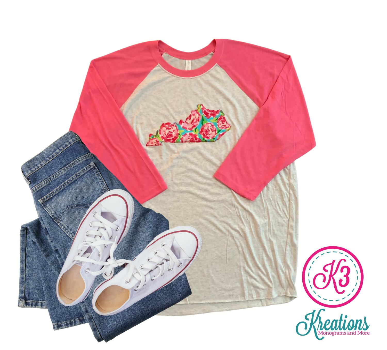 Adult Kentucky State Rosey White & Pink Raglan Tee