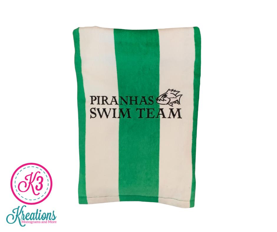 Striped Pool Towel with Piranhas Swim Team Logo