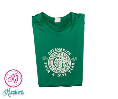 Sport-Tek Posi-UV short sleeve with choice of Greenbrier Logo