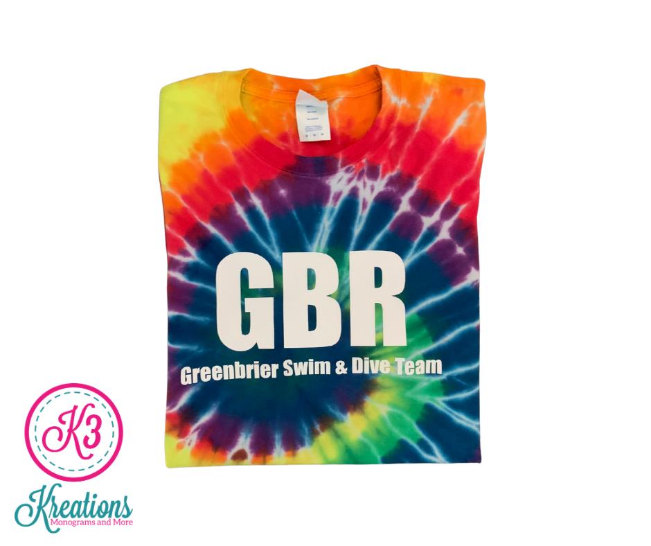 Short Sleeve Rainbow Tie-Dye T-shirt with Choice of Greenbrier Logo