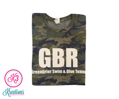 Vintage Camo Jersey Tee with Choice of Greenbrier Logo