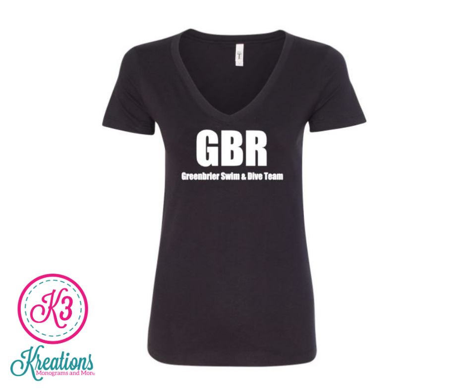 Ladies Black Out V-Neck with choice of Greenbrier Logo