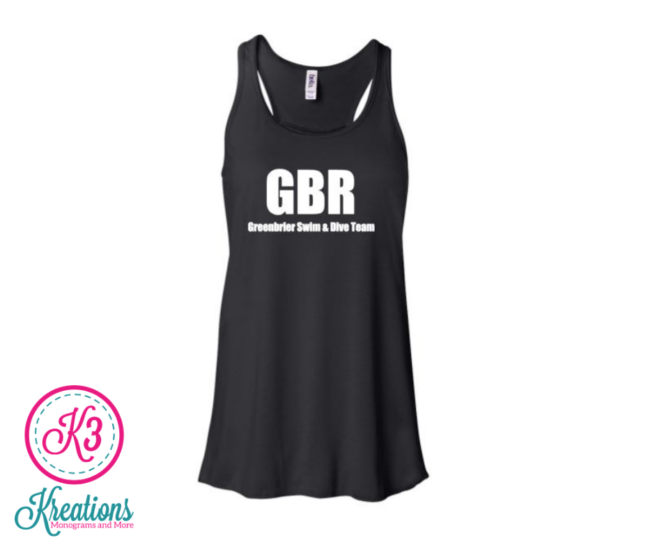 Youth Bella+Canvas Flowy Black Out Tank with choice of Greenbrier Logo