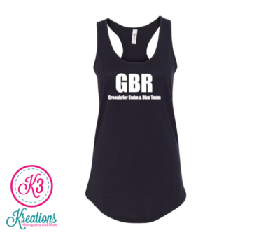 Ladies Ideal Racerback Black Out Tank with choice of Greenbrier Logo