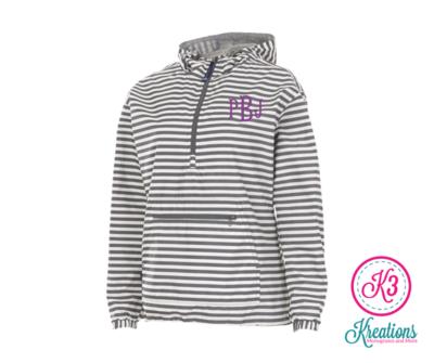 Ladies Chatham Grey/White Stripe Anorak