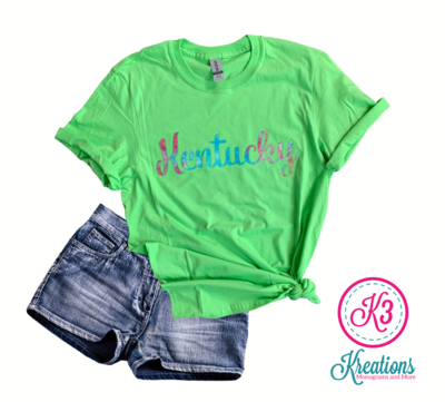 Adult Kentucky Script Embroidered Softstyle Short Sleeve Tee