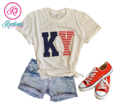 Adult KY Stars & Stripes Short Sleeve Softstyle White Tee