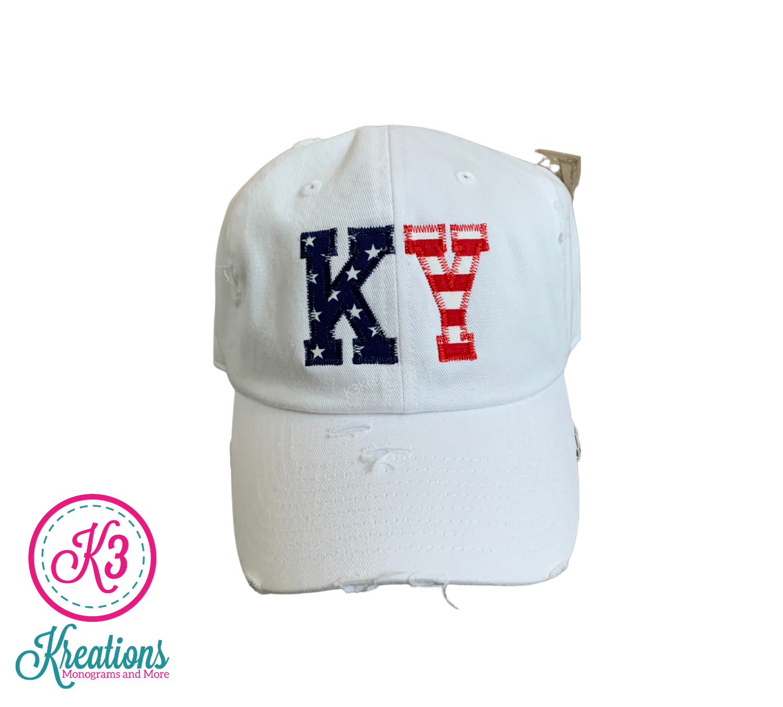 KY Stars & Stripes White Distressed Cap