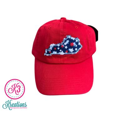 Kentucky State Patriotic Stars Red Cap