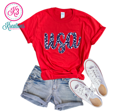 Adult USA Stars Short Sleeve Softstyle Red Tee