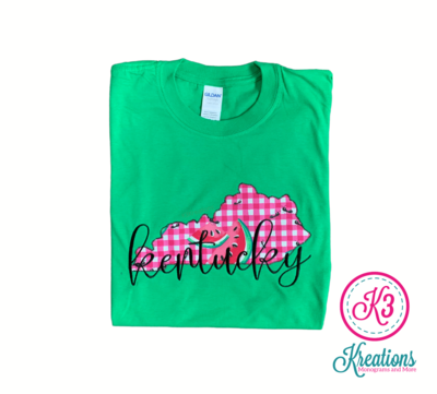Adult Kentucky State Watermelon Embroidered Softstyle Green Short Sleeve Tee