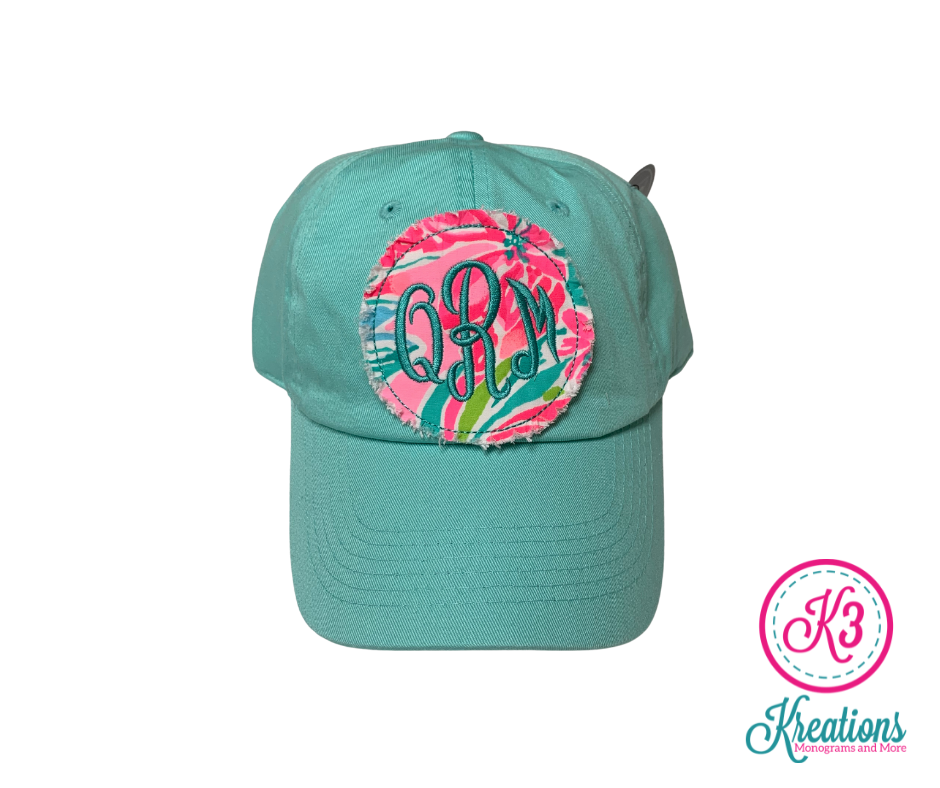 Monogrammed Lilly Raggy Patch Cap