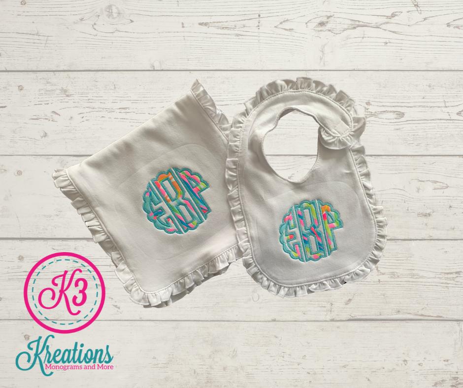 Lilly Ruffle Bib & Burp Cloth with Scalloped Circle Monogram - choice of Lilly fabric