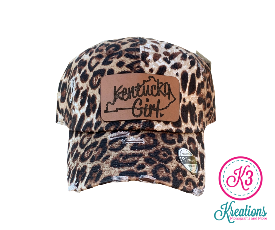 Kentucky Girl Leather Patch Leopard Print Distressed Cap