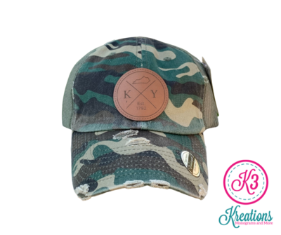 KY Round Leather Patch Distressed Trucker Cap