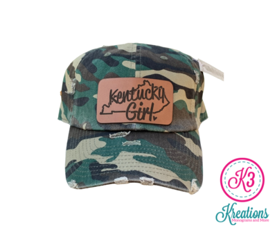Kentucky Girl Leather Patch Distressed Cap